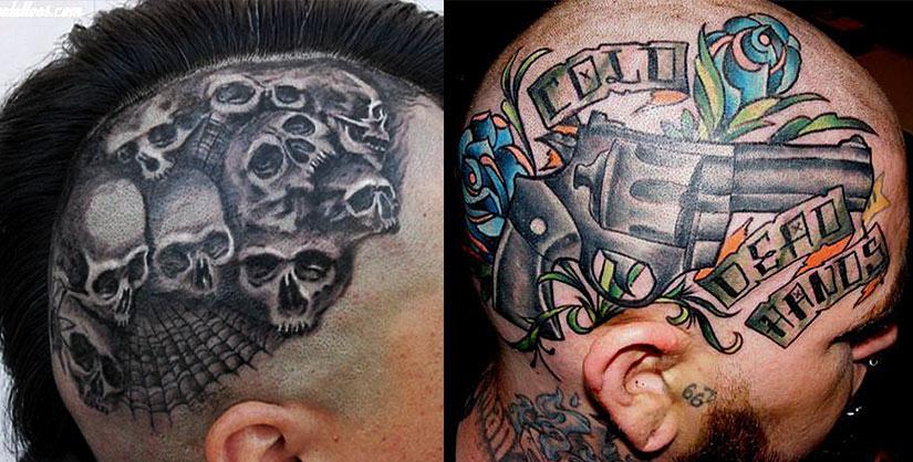Брутальные татуировки на голове