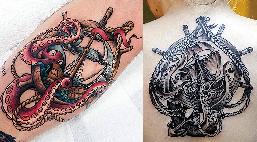 Тату якоря с морскими чудовищами в виде с чудовищ в виде осьминогов