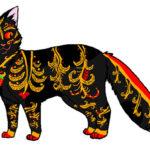 Эскиз кошки, хохлома