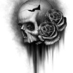 Череп человека с розами