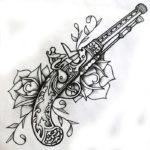 Эскиз тату револьвер