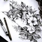 Эскиз тату рысь с цветами