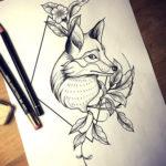 Лиса с цветами в ромбе