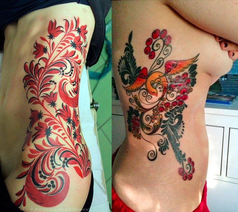 Женская тату в стиле хохлома на боку
