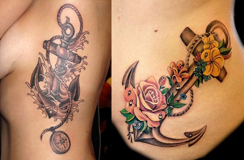 Красивые женские татуировки с якорем