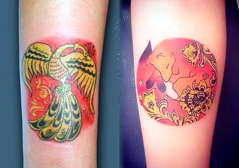 Маленькие татуировки в стиле хохлома