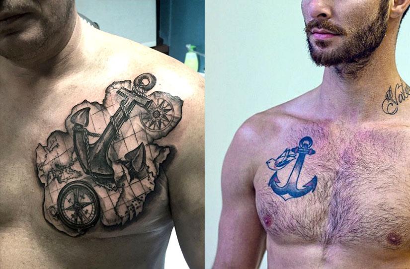 Мужская тату якоря на груди