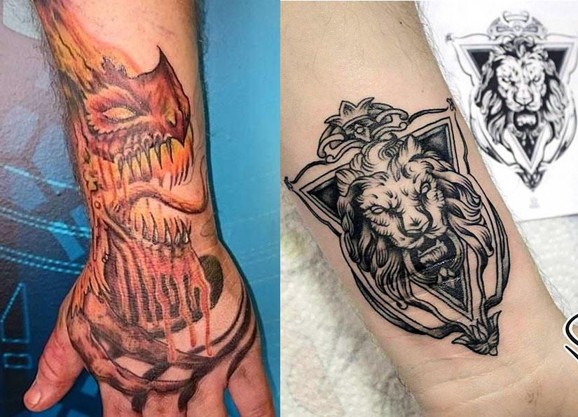Драконов с пламенем и черно белая тату льва