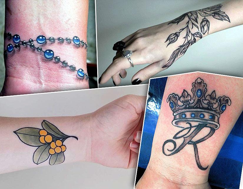 Разные варианты татуировок, бусы, корона, ветви