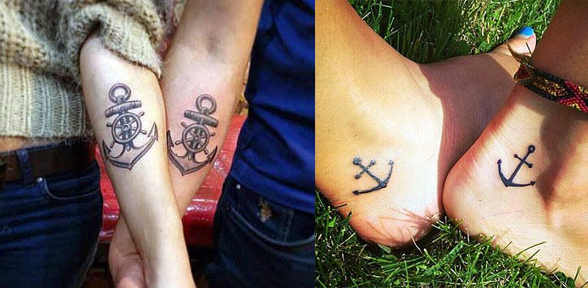 Парные татуировки якоря для влюбленных, на руках и ногах
