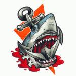 Якорь с акулой