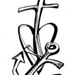 Якорь с крестом и сердцем
