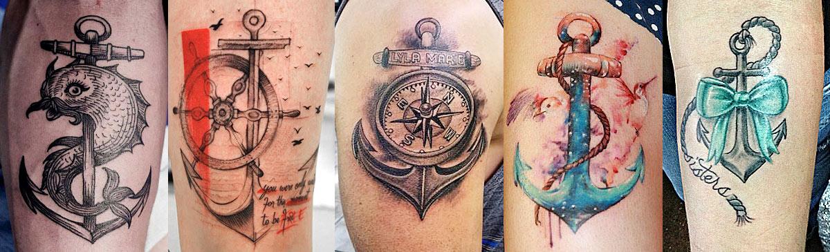 Интересные татуировки с якорем