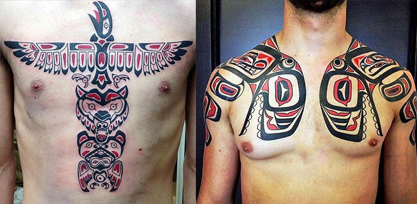 Татуировки в стиле хайда на груди и плечах
