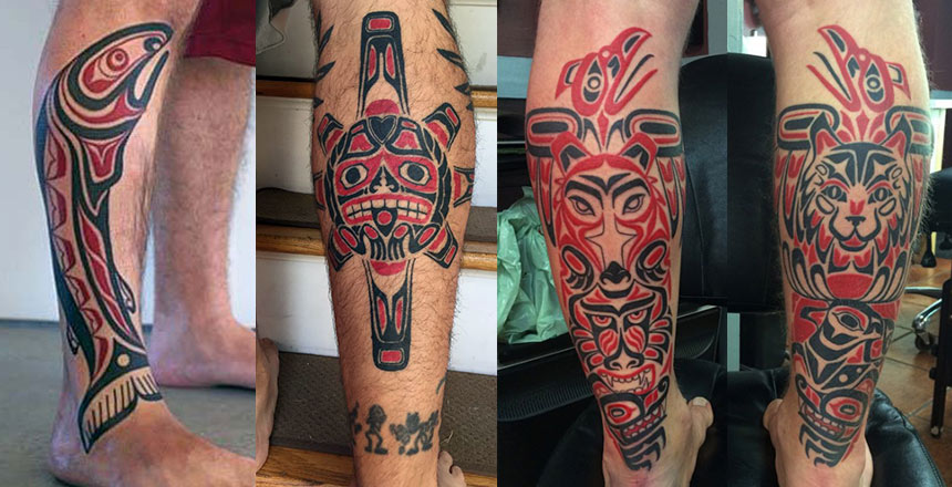 Татуировки в стиле хайда на икрах