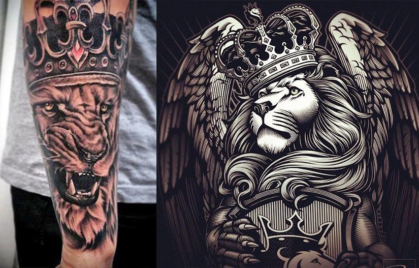 Мужские татуировки льва с короной в стиле чикано