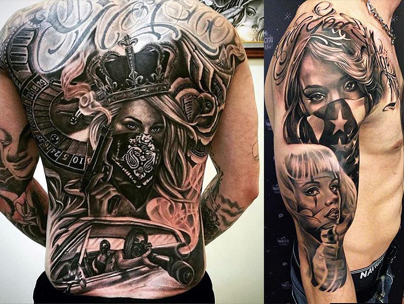 Татуировка на всю спину и на руке у мужчин