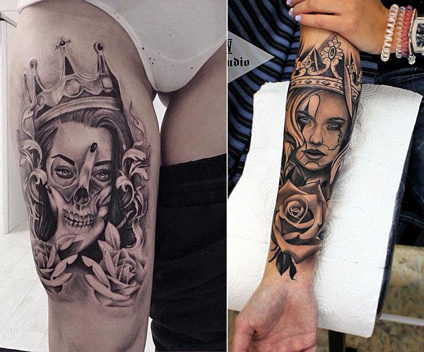 Женские татуировки с короной и цветами
