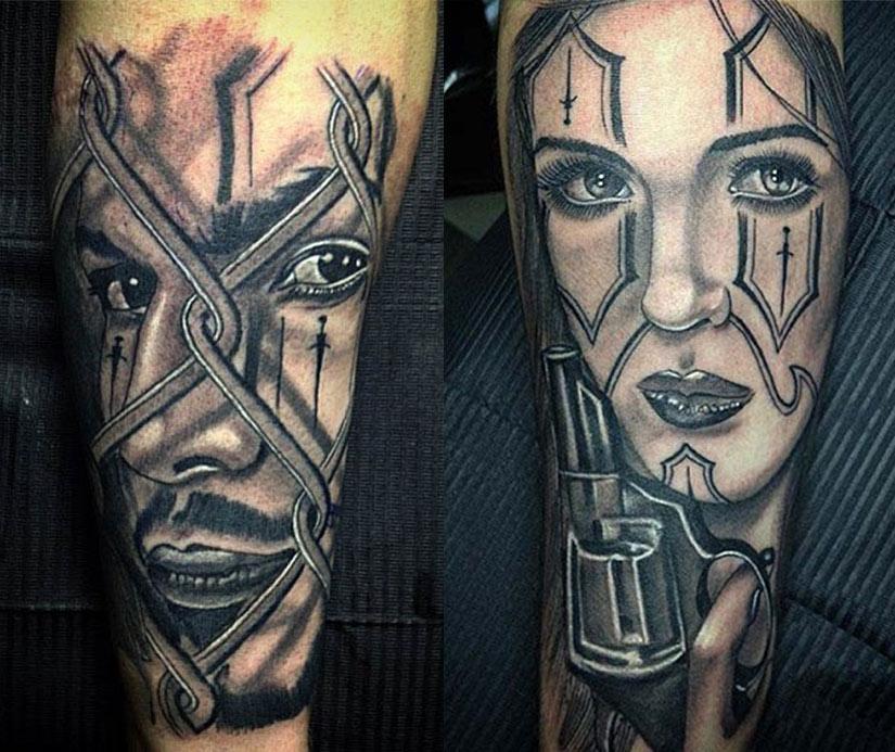 Черно-белые татуировки в стиле чиккано градациями