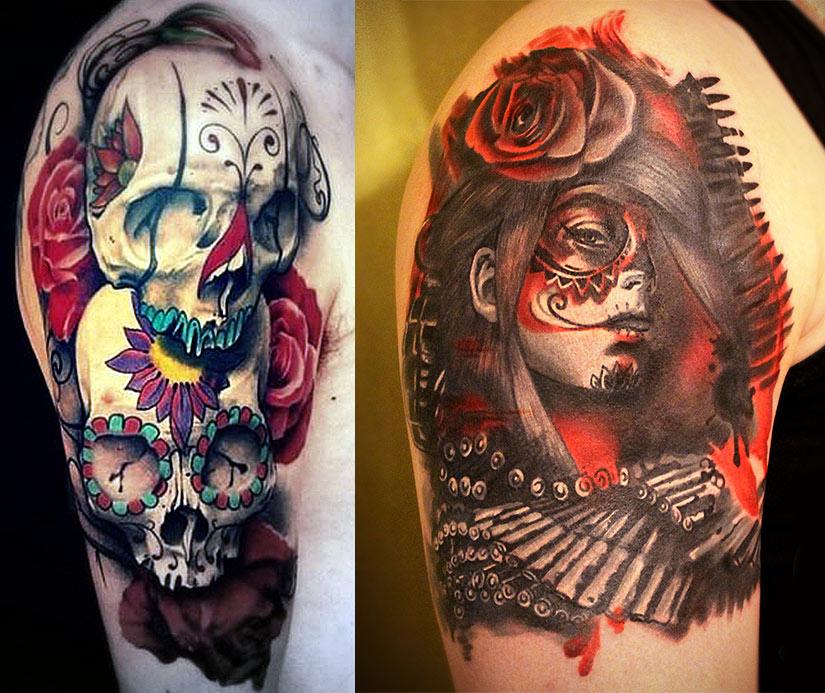 Цветные варианты татуировки чикано, черепа и девушка