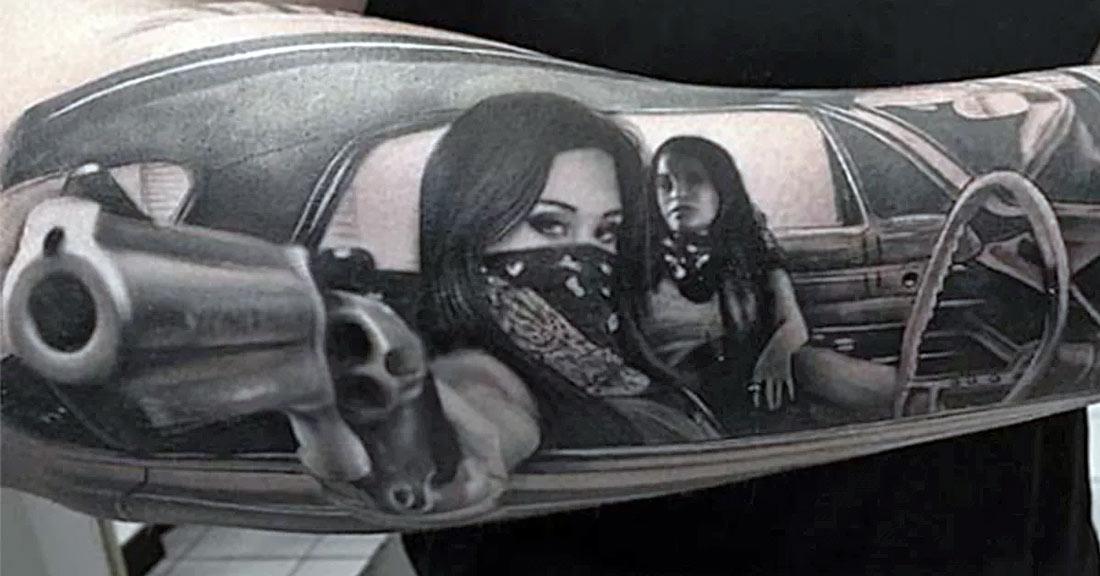 Татуировка в стиле чикано, реализм. Девушка с оружием в бандане