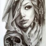 Красивая девушка с черепом