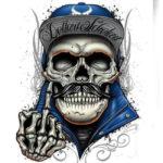 Скелет показывающий жест