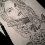 Эскиз девушка с пистолетом и розой