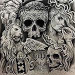 Лев в короне с черепами