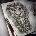 Эскиз тигра в стиле чикано