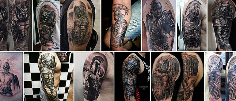 Коллаж татуировок с гладиатором