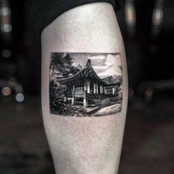 Черно белая тату реализм, дом