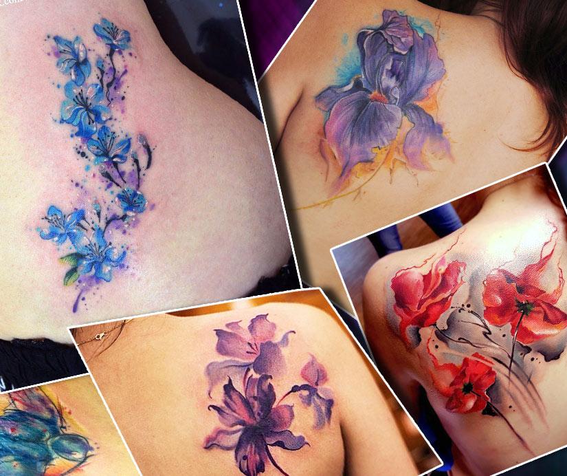 Тату для девушек цветы на спине в стиле акварель