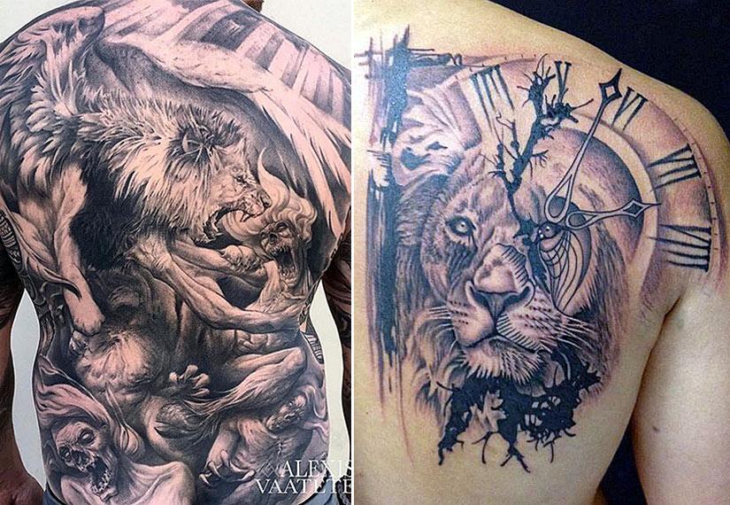 Мужские татуировки львов на спине
