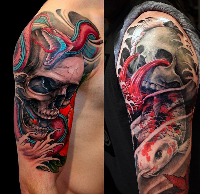 Интересные татуировки на плече черепов с змеей и карпом