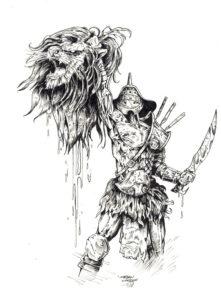 Гладиатор держит в руке голову поверженного в бою льва