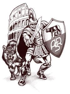 Эскиз тату гладиатора, волка и колизея