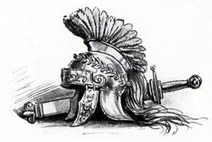 Эскиз шлема гладиатора и меча