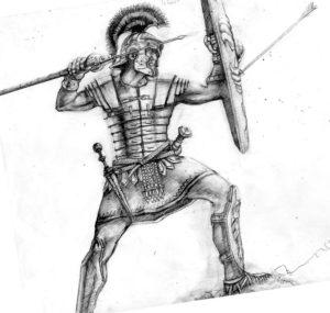 Гладиатор во весь раст в боевой позе