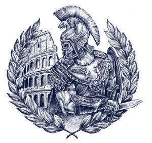 Эскиз тату в виде эмблемы, герба с гладиатором