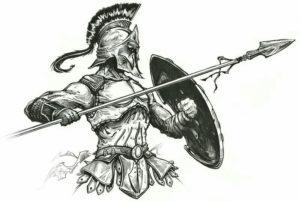 Эскиз тату гладиатора в боевой позе