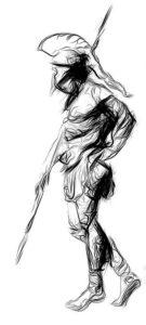 Набросок тату гладиатора с копьем