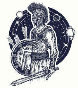 Гладиатор на фоне космоса