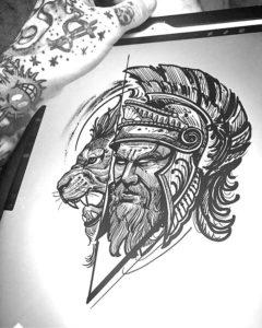 Качественный эскиз гладиатора в шлеме и льва