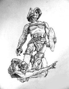 Эскиз татуировки, гладиатор победил противника