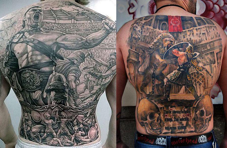 Большие тату гладиаторов в бою на спине у мужчин