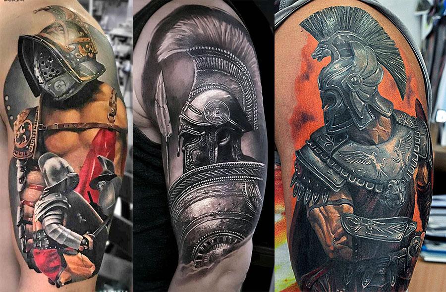 Мужские реалистичные татуировки гладиатора