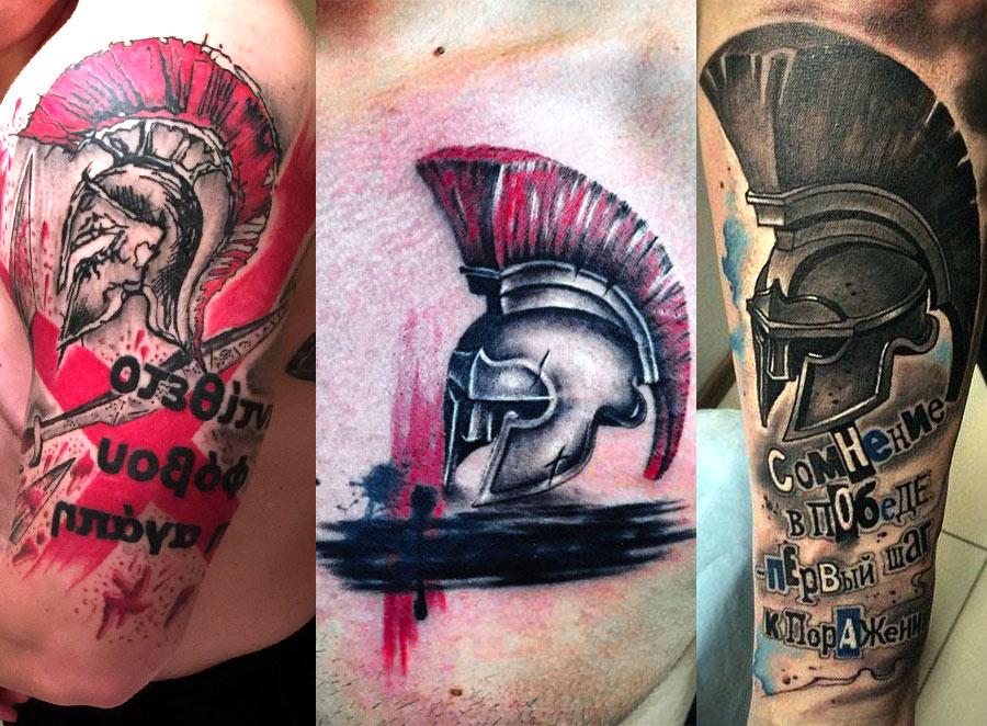 Татуировки в стиле треш полька с шлемами гладиатора