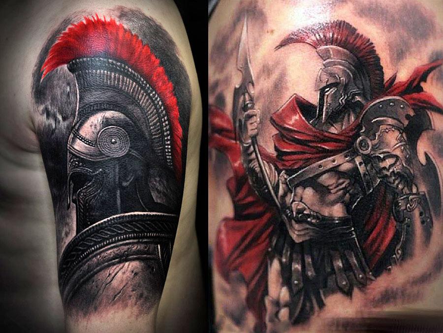 Красивые, современные татуировки гладиаторов в черно-красных цветах