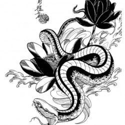 Эскиз змея с пионом среди волн